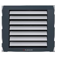 LEO AGRO - Aeroterma de interior - pentru cladiri agricole - Flowair, Sistem Flowair, aeroterma pe apa, aeroterma electrica, instalare pe tavan, instalare verticala