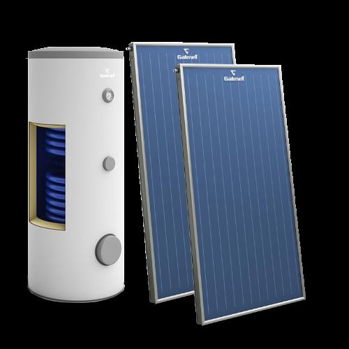 Pachet solar cu 2 panouri Galmet - apa calda menajera pentru 3-4 persoane cu boiler bivalent de 200 l - Technova - Promotia lunii - Galmet - Oventrop - Zilmet - Pachete solare cu colectoare de aluminiu si boilere ACM