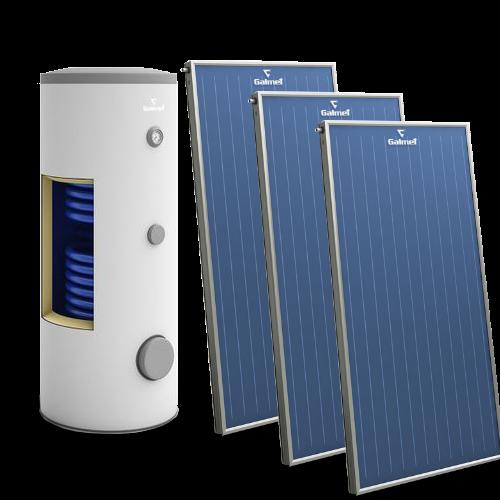 Pachet solar cu 3 panouri Galmet - apa calda menajera pentru 5-6 persoane cu boiler bivalent de 300 l - Technova - Promotia lunii - Galmet - Oventrop - Zilmet - Pachete solare cu colectoare de aluminiu si boilere ACM